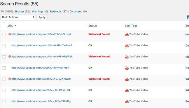 Enlaces rotos encontrados de youtube en tu blog